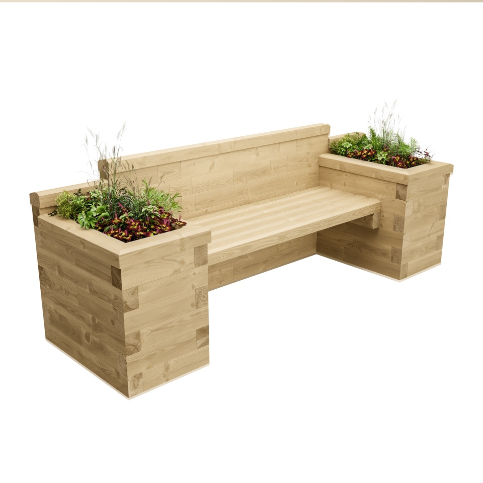 Long Planter Seat with Bookend Beds