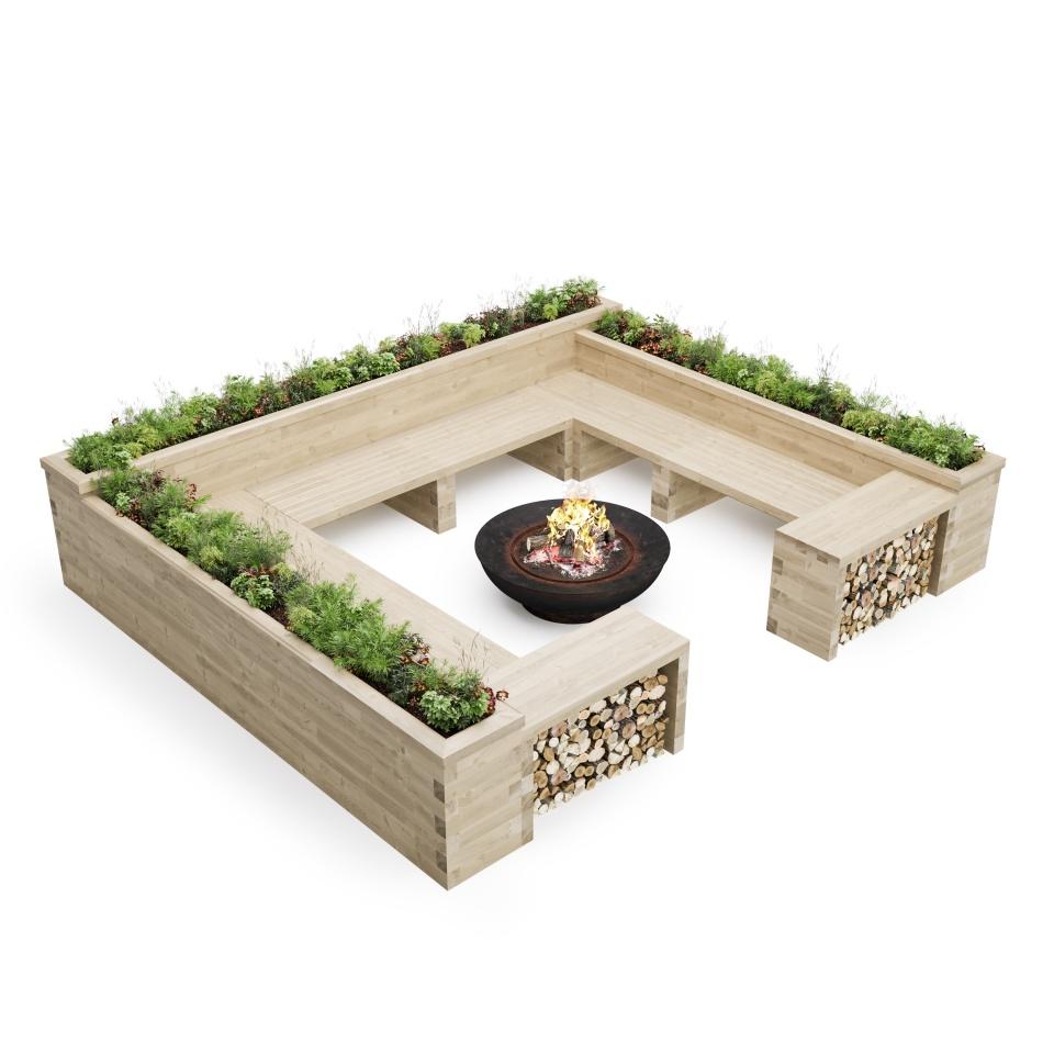 Banco de jardinera de pozo de fuego cuadrado / 4.35 x 3.675 x 0.85 m