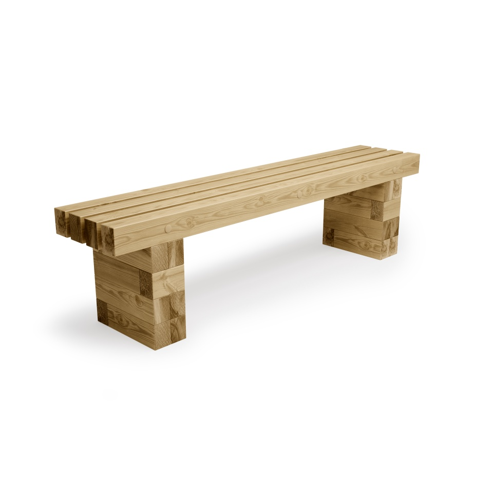 WoodBlocX Bench / Length x Width x Height - 1875 x 375 x 500 mm