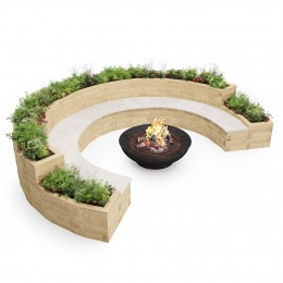Banco de jardinera circular para fogatas / 4.2 x 3.14 x 0.75 m