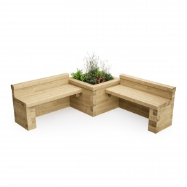 Double Bench with Corner Bed