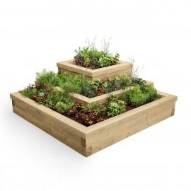 Jardín de hierbas con gradas en esquina / 1,5m x 1,5m x 0,55m