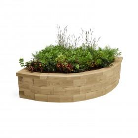 Rincón curvado cama de jardín levantada / 1,125 x 1,125 x 0,35m