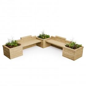 Asiento doble de jardinera /  3,0 x 3,0 x 0,75m
