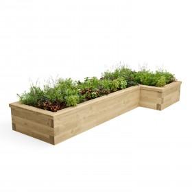 Cama en forma de L en forma de jardín / 2,625 x 1,125 x 0,75 x 0,35m