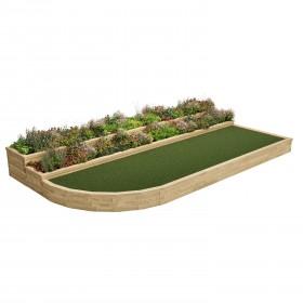 Terrazas de jardín de esquina curvada con gradas