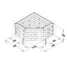 Corner Raised Bed 45 Degree / Length x Width x Height - 1125 x 1125 x 550 mm